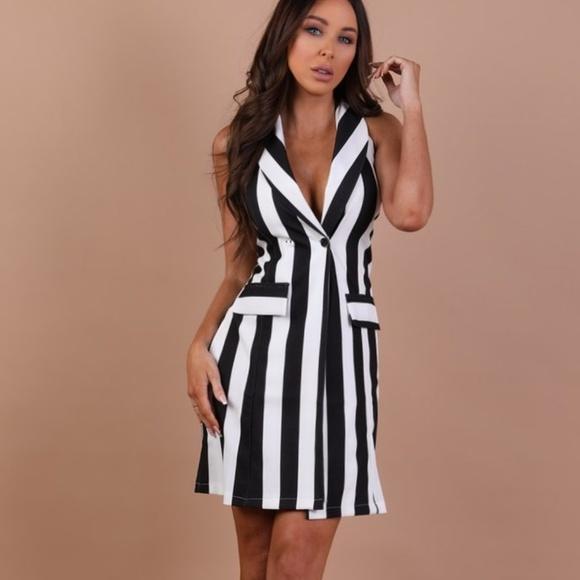 02d9fedfc1d1 Dresses | Stunning Black And White Striped Blazer Dress | Poshmark